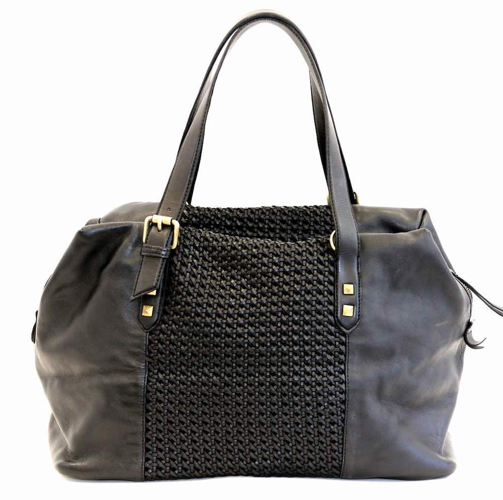 DANIELA Hand Bag With Cross Weave Black
