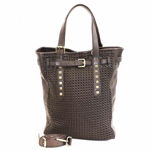 TIZIANA Shopper With Cross Weave Dark Brown