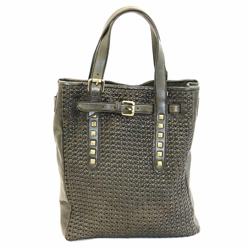 TIZIANA Shopper With Cross Weave Olive