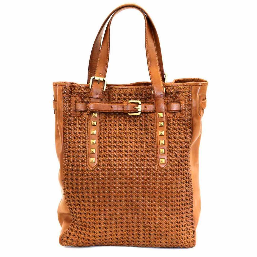 TIZIANA Shopper With Cross Weave Tan