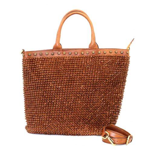 CHIARA Tote Bag Knot Weave Studs Tan