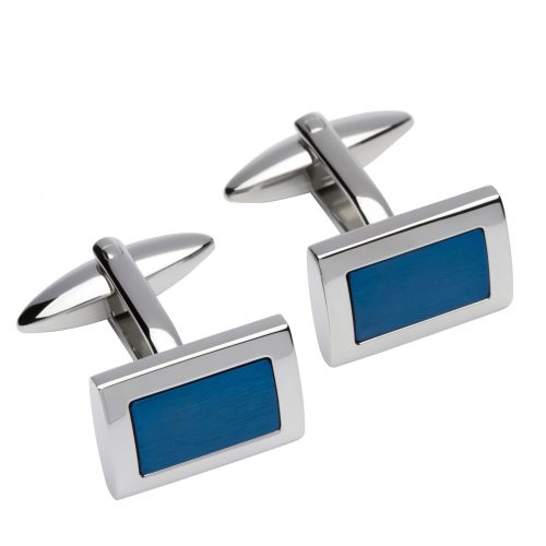 Unique & Co Men's Rectangular Leather Cufflinks Blue
