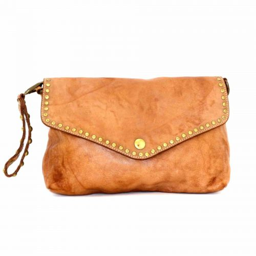 LAVINIA Studded Clutch Bag Tan