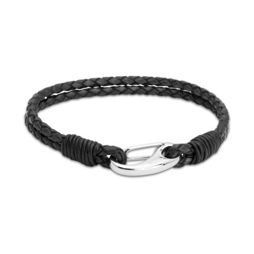 Unique & Co Men's Leather Bracelet With Shrimp Clasp Black
