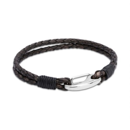 Unique & Co Men's Leather Bracelet With Shrimp Clasp Brown