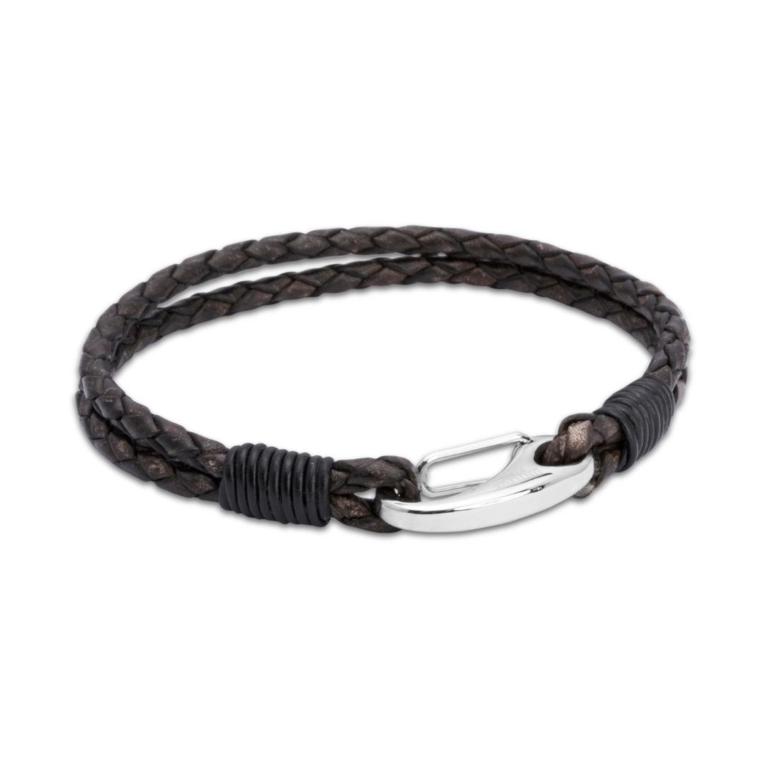 Unique & Co Men's Leather Bracelet With Shrimp Clasp Brown
