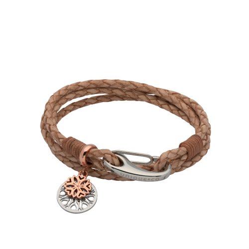 Unique & Co Women's Leather Bracelet With Flower Charm Natural