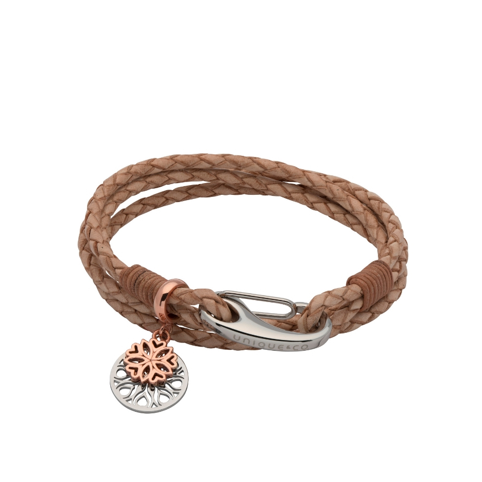 Unique & Co Women's Leather Bracelet With Flower Charm Natural