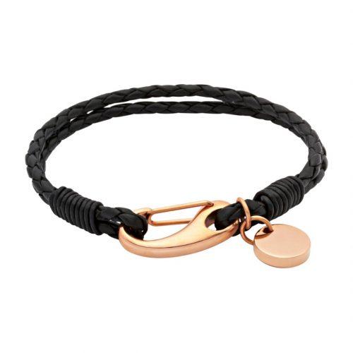 Unique & Co Women's Leather Bracelet With Pusher Clasp Black