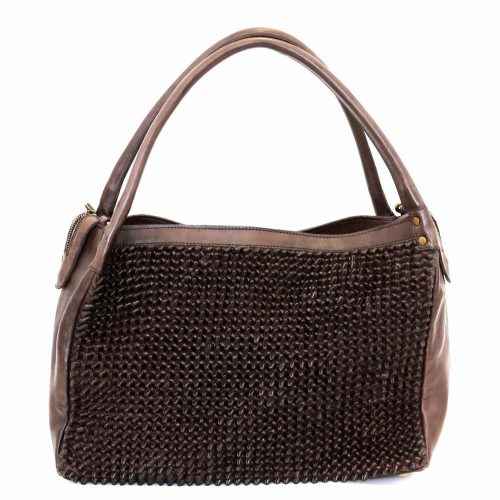 GIADA Hand Bag With Knot Weave Brown