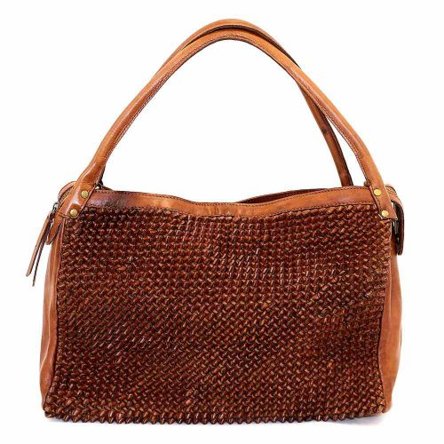 GIADA Hand Bag With Knot Weave Tan