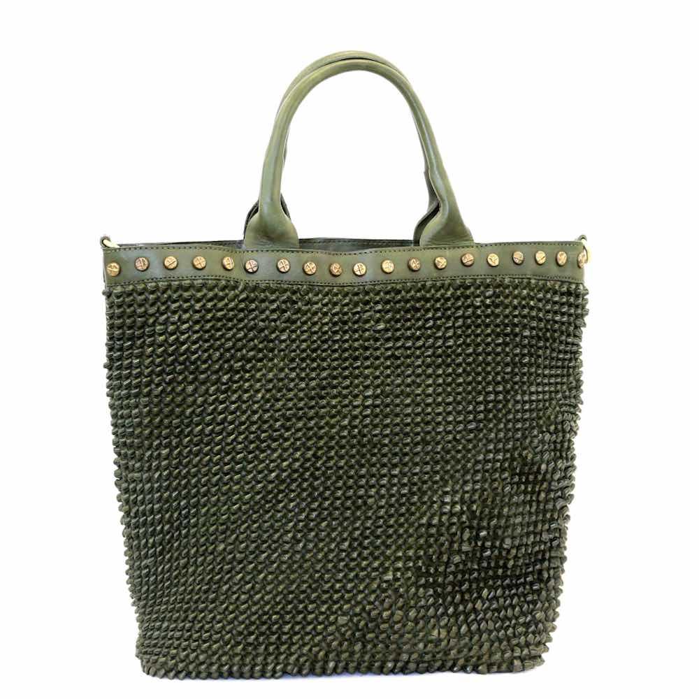 CHIARA Tote Bag Knot Weave Studs Army
