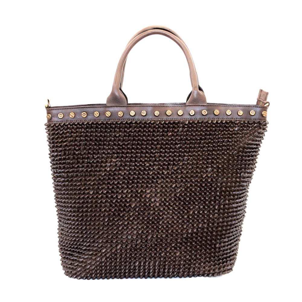 CHIARA Tote Bag Knot Weave Studs Dark Brown