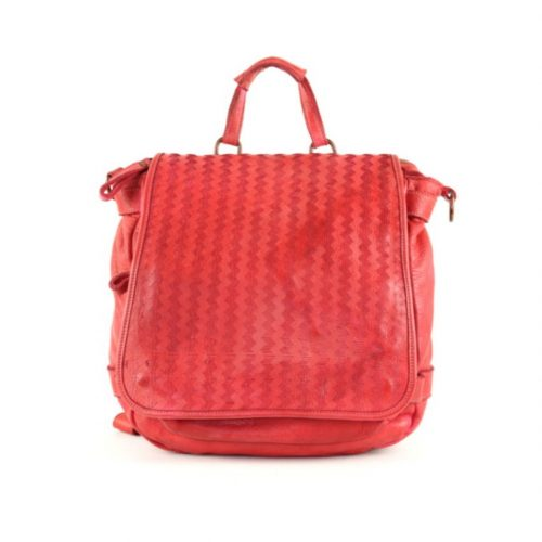 SONIA Rucksack With Laser Zigzag Detail Red