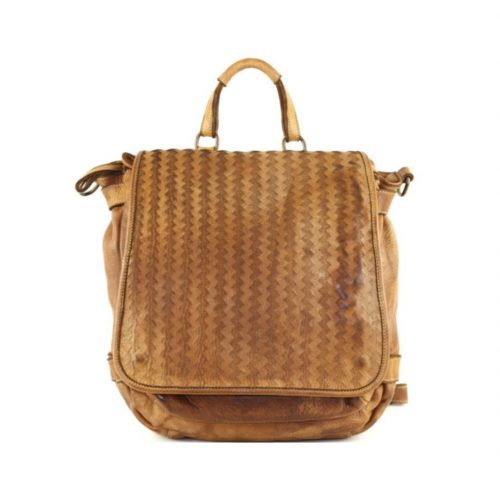 SONIA Rucksack With Laser Zigzag Detail Tan