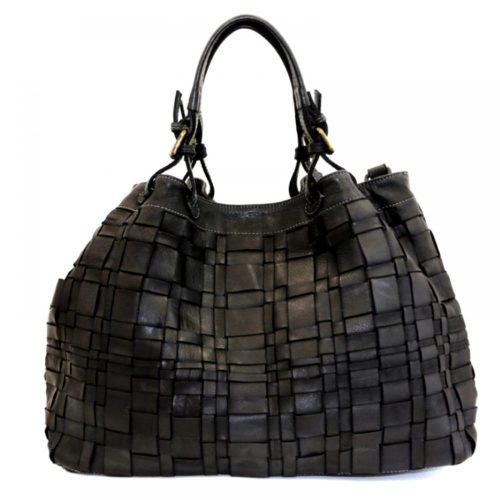 LUCIA Tote Bag Asymmetric Weave Black