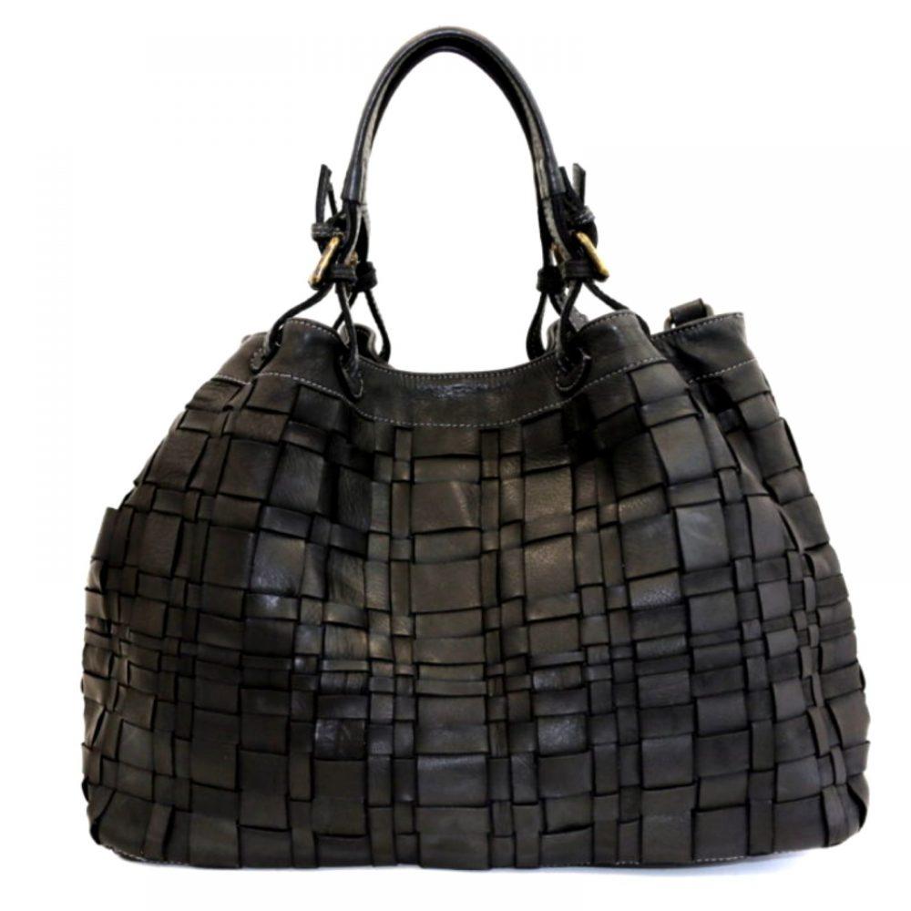 LUCIA Tote Bag Asymmetric Weave Black