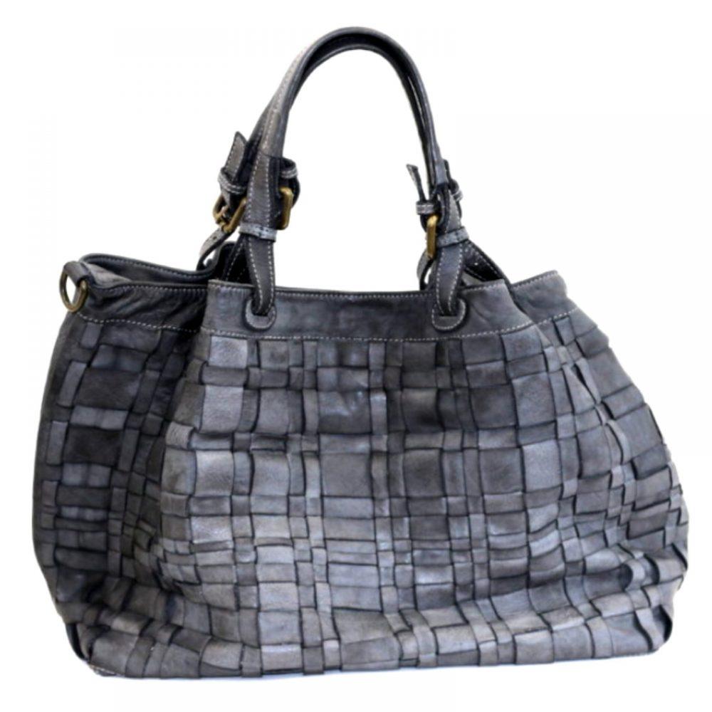 LUCIA Tote Bag Asymmetric Weave Dark Grey