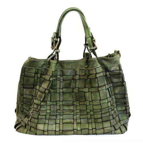 LUCIA Tote Bag Asymmetric Weave Khaki Green