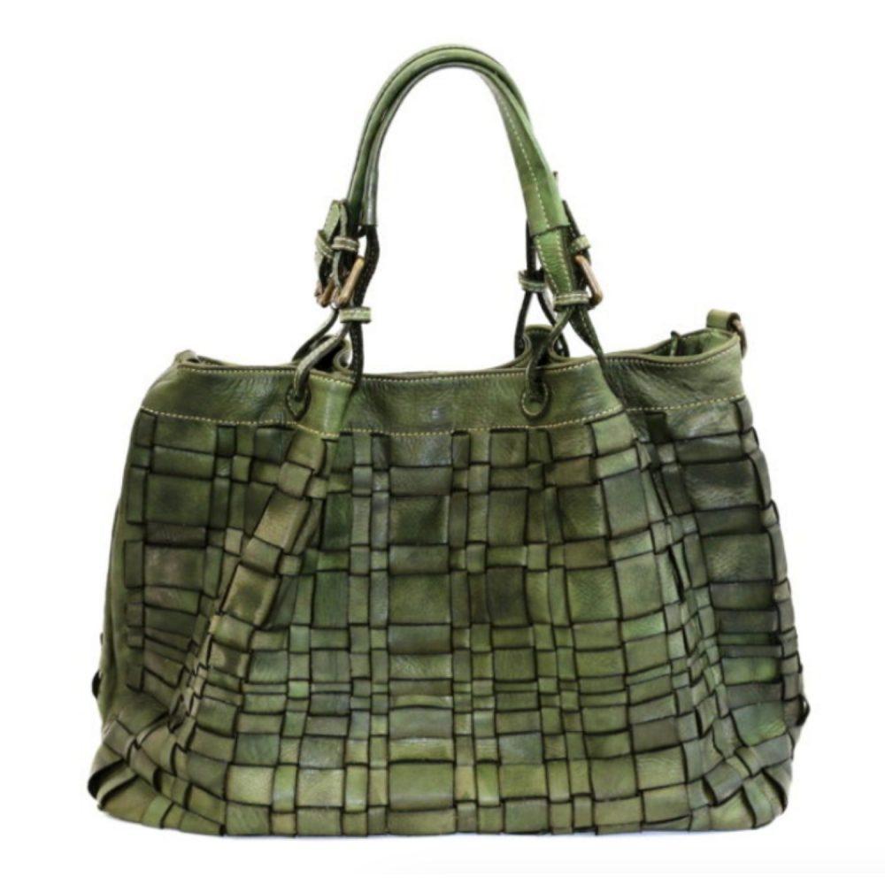 LUCIA Tote Bag Asymmetric Weave Khaki Green
