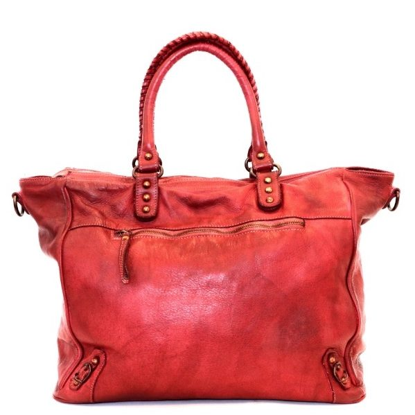 sofia large leather handbag with handle detail and metallic hardware in blush