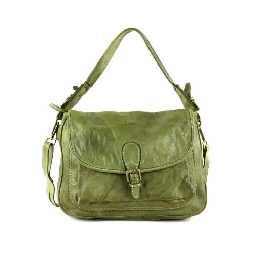 GINA Shoulder Bag With Front Buckle Army Green