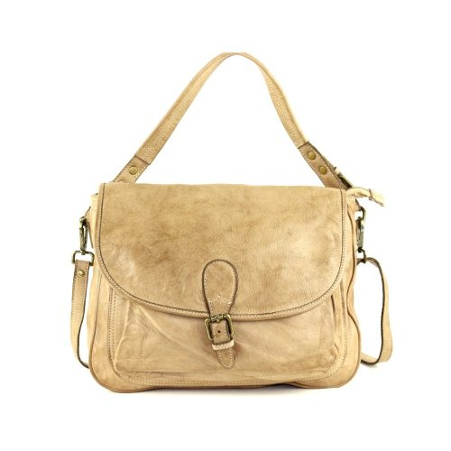 GINA Shoulder Bag With Front Buckle Beige