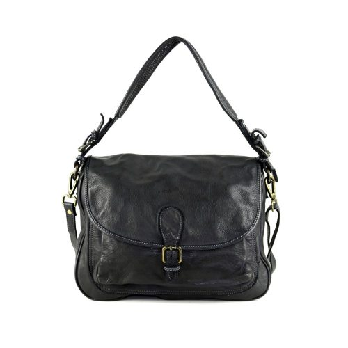 GINA Shoulder Bag With Front Buckle Black