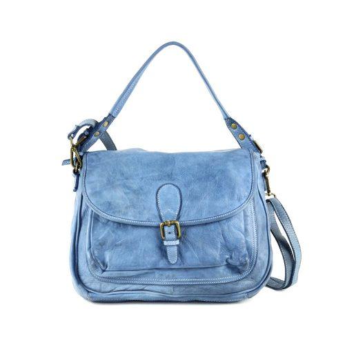GINA Shoulder Bag With Front Buckle Denim