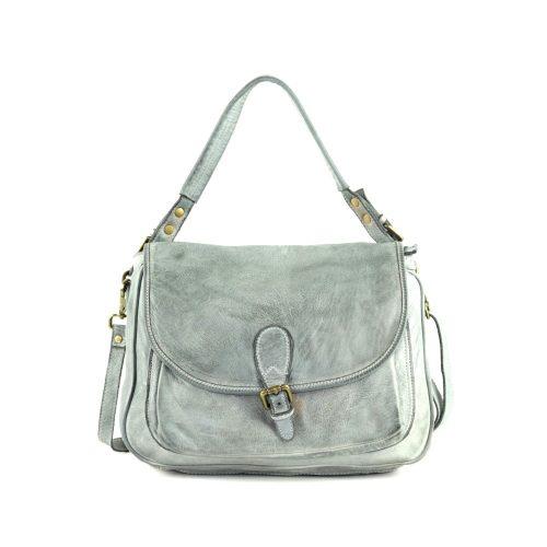 GINA Shoulder Bag With Front Buckle Light Grey