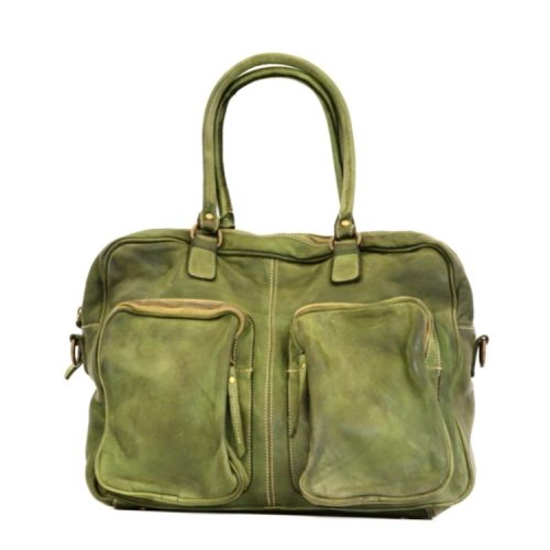 LAURA Hand Bag With Two Front Pockets Army Green