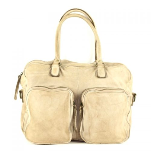 LAURA Hand Bag With Two Front Pockets Beige