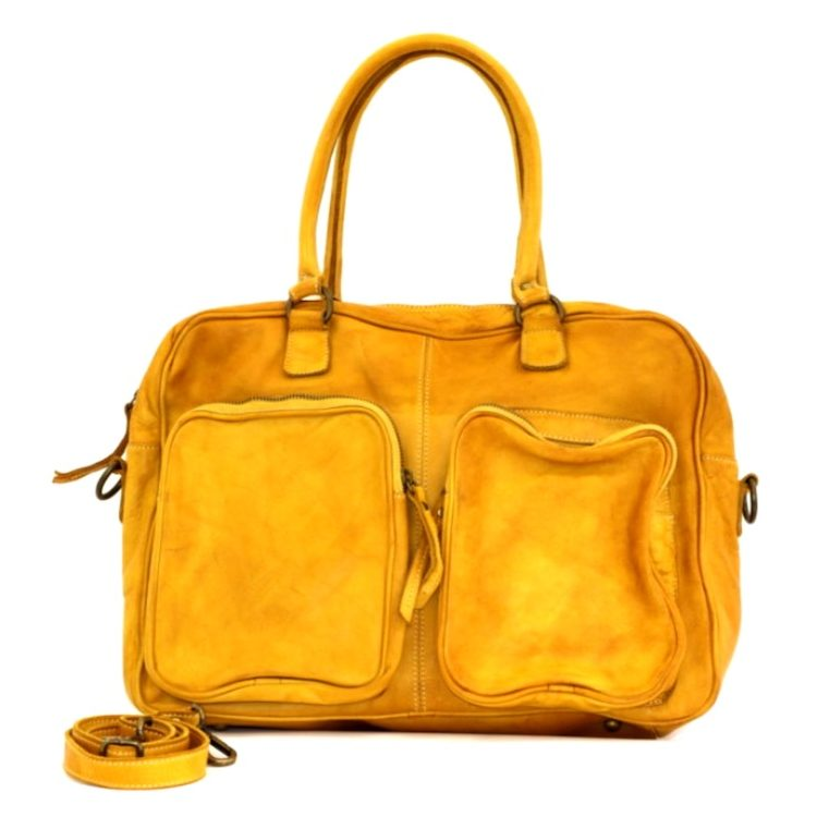 LAURA Hand Bag With Two Front Pockets Mustard