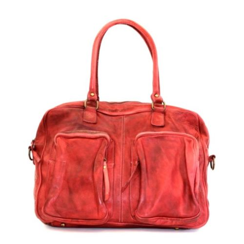 LAURA Hand Bag With Two Front Pockets Red