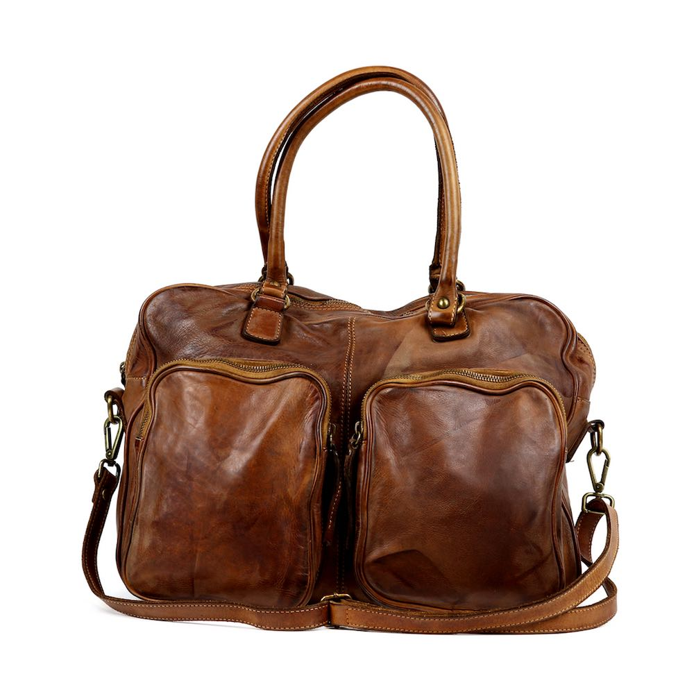 LAURA Hand Bag With Two Front Pockets Tan