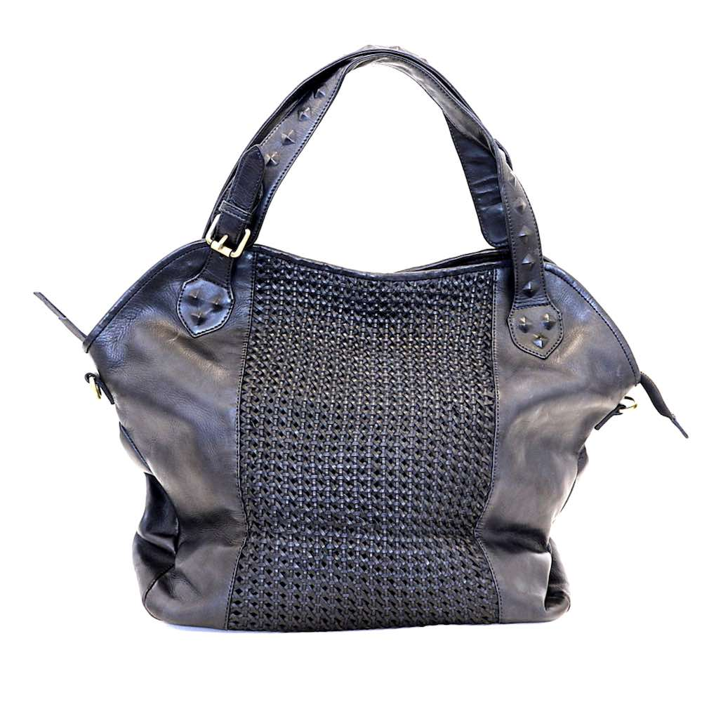TAMARA Shoulder Bag With Cross Weave Black
