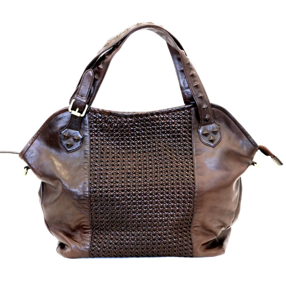 TAMARA Shoulder Bag With Cross Weave Brown