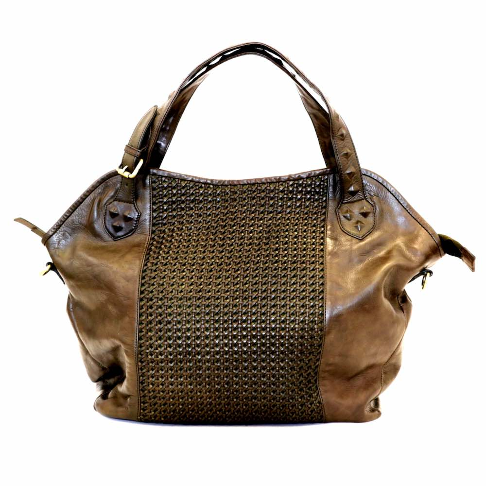 TAMARA Shoulder Bag With Cross Weave Olive Green