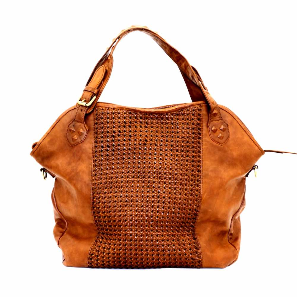 TAMARA Shoulder Bag With Cross Weave Tan