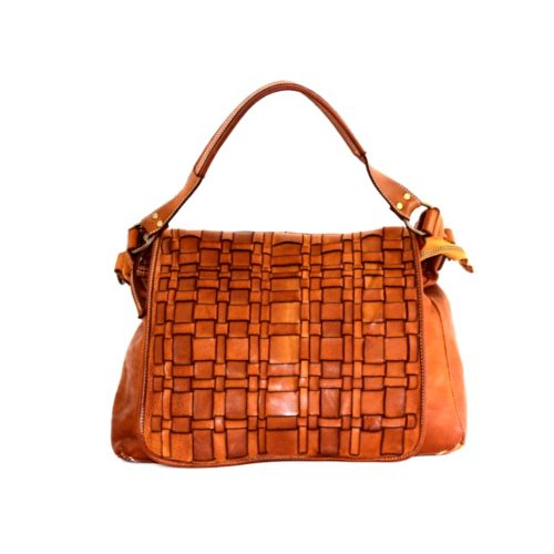 VIRGINIA Flap Bag With Asymmetric Weave Tan