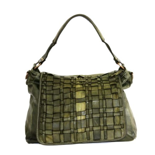 VIRGINIA Flap Bag With Asymmetric Weave Army