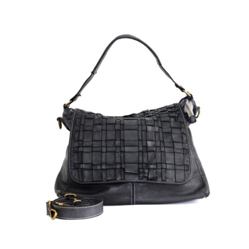 VIRGINIA Flap Bag With Asymmetric Weave Black