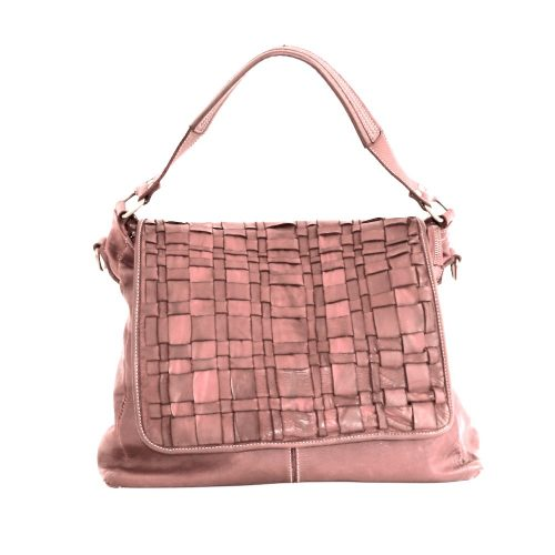 VIRGINIA Flap Bag With Asymmetric Weave Blush