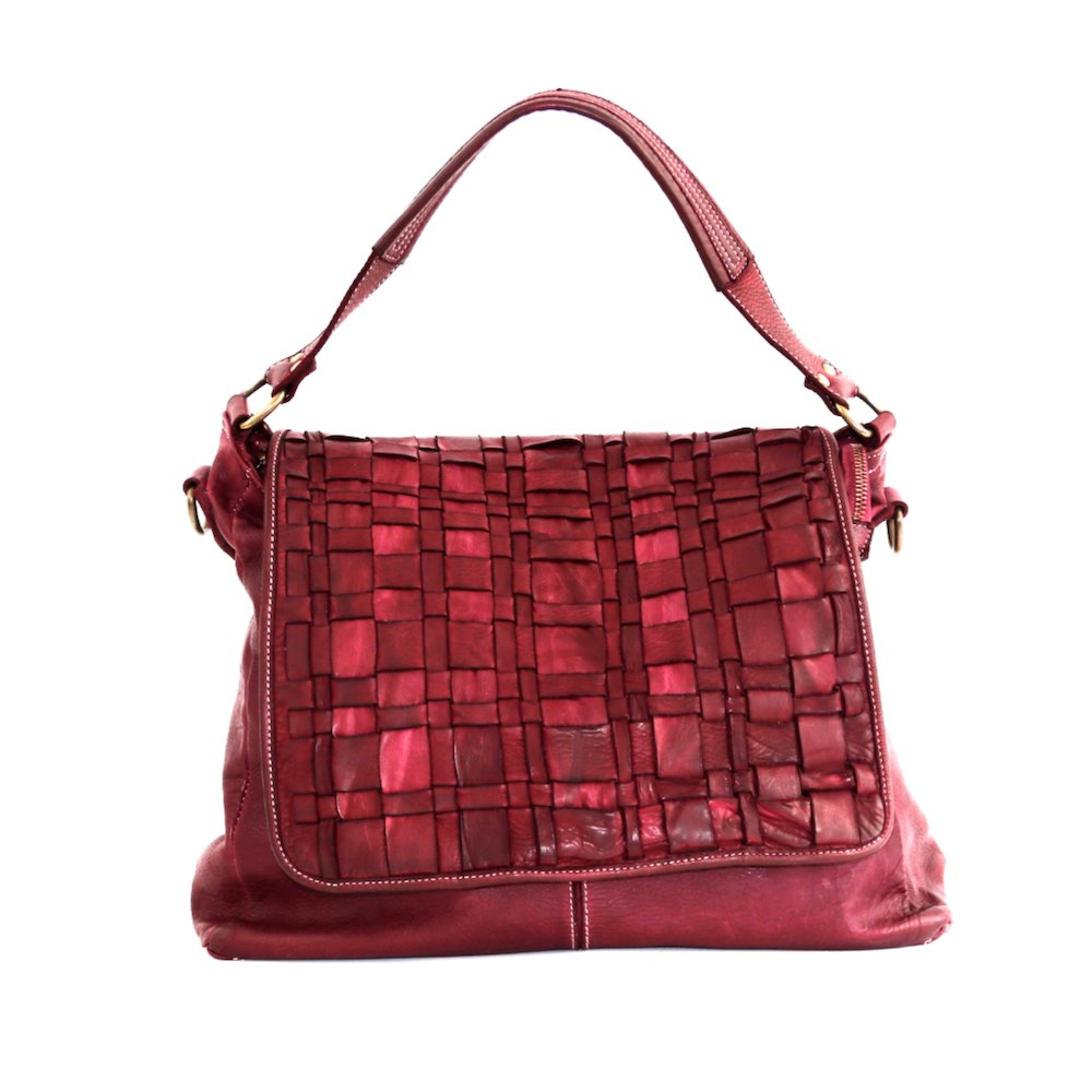 VIRGINIA Flap Bag With Asymmetric Weave Bordeaux