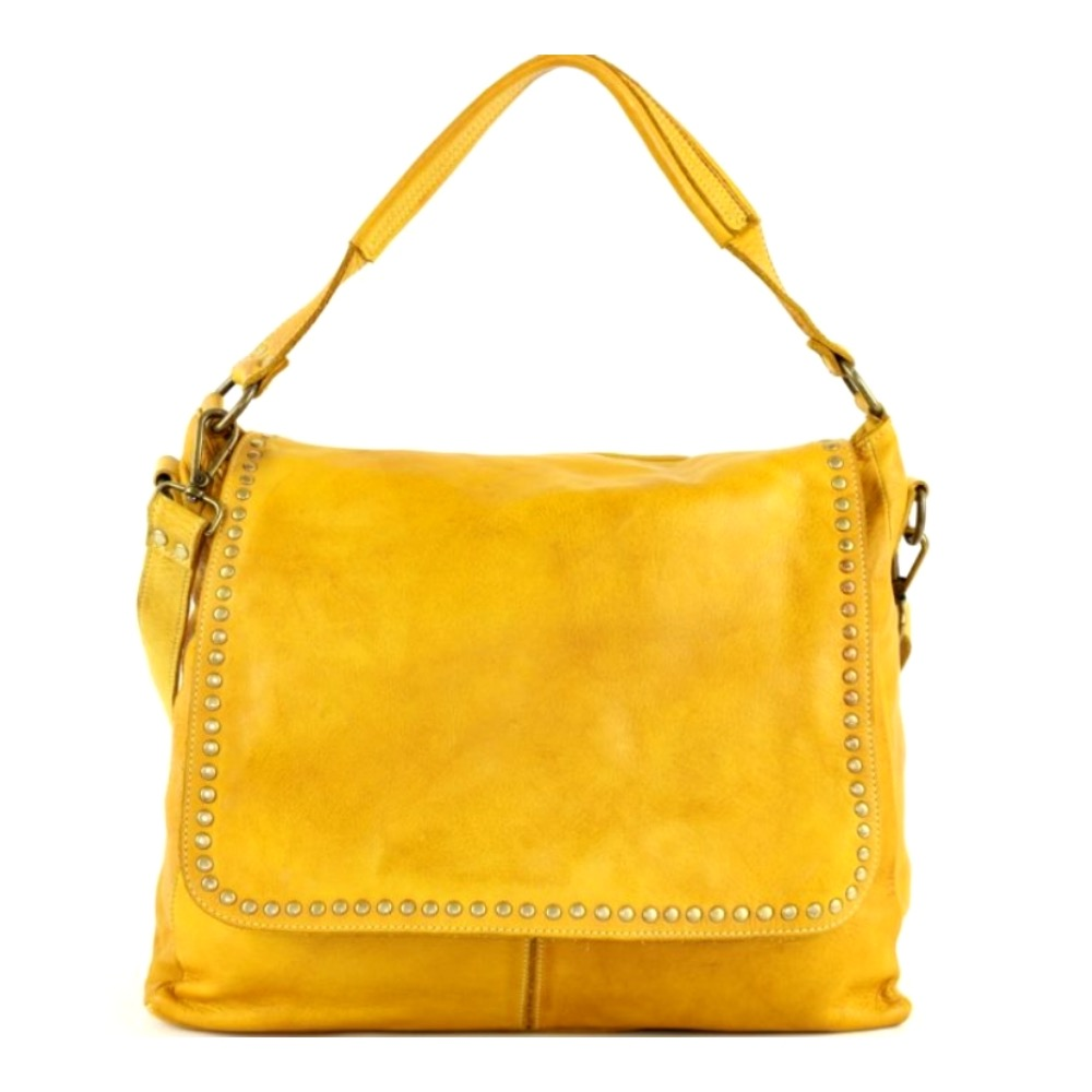 VIRGINIA Flap Bag With Top Handle Mustard