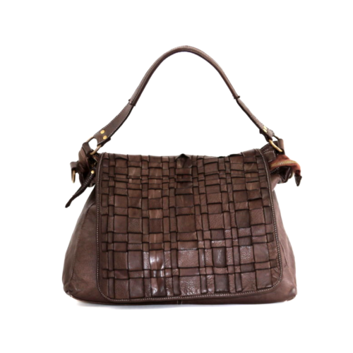 VIRGINIA Flap Bag With Asymmetric Weave Dark Brown
