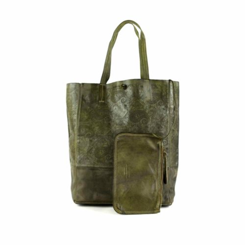 LEILA Shopper Bag With Paisley Pattern Army Green