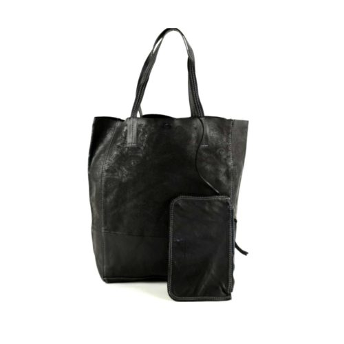 LEILA Shopper Bag With Paisley Pattern Black
