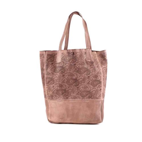 LEILA Shopper Bag With Paisley Pattern Blush