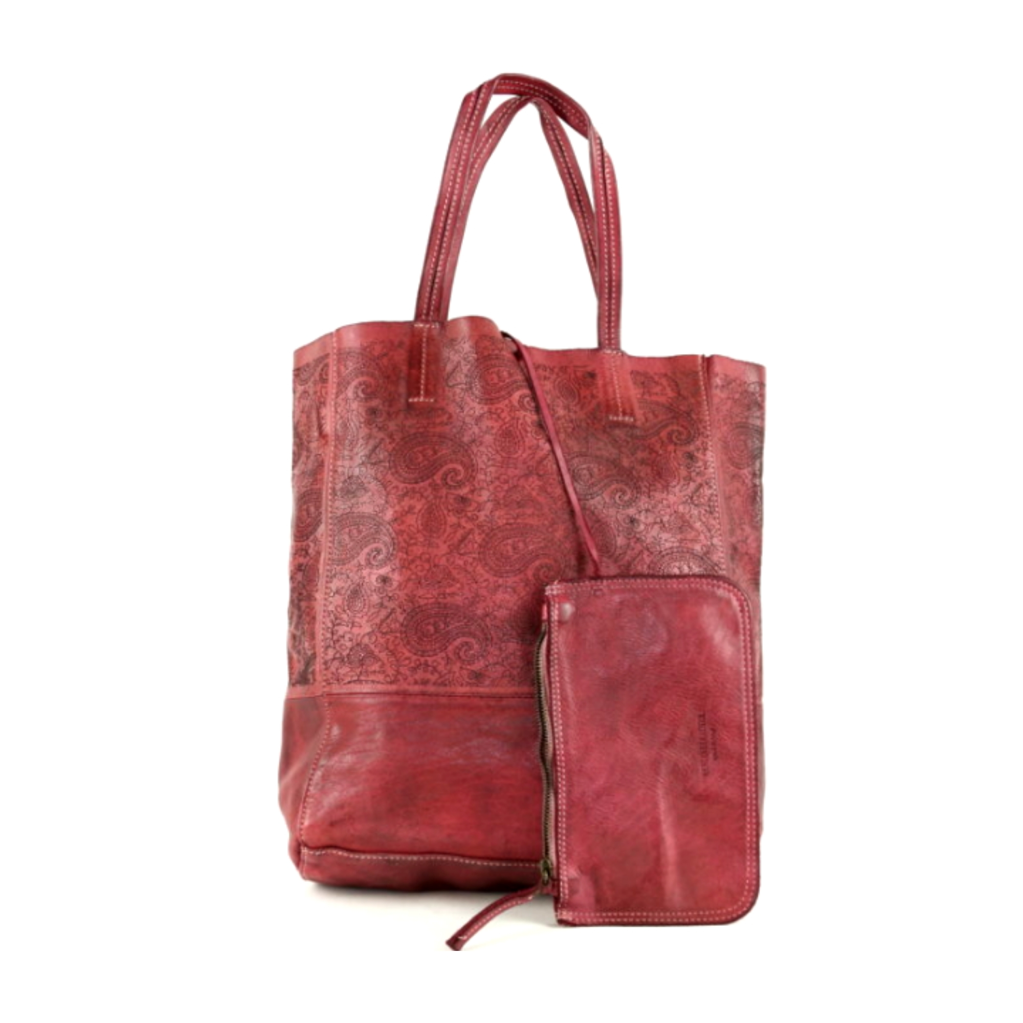 LEILA Shopper Bag With Paisley Pattern Bordeaux